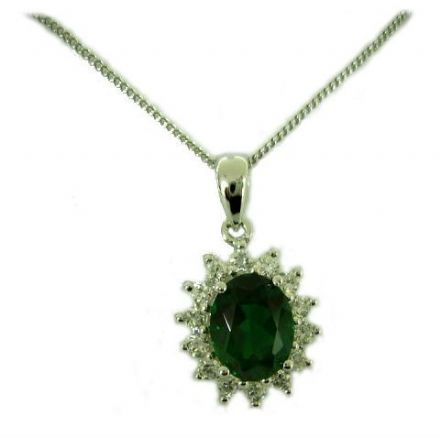 Emerald, Cubic Zirconia Pendant, Sterling Silver
